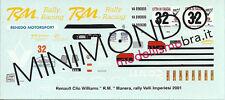 DECALS RENAULT CLIO RALLY VALLI IMPERIESI 2001 MANERA 1/43 MERI KITS MS059