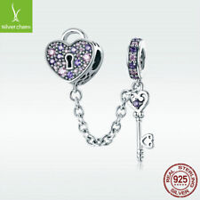 925 Sterling Silver Charm Bead Key of Heart with Purple CZ For Bracelet Jewelry