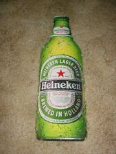 Heineken Beer Metal Bottle Tacker Sign + Metal Wall Plate Calendar Sign