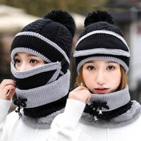 Eg _ 3PCS / Ensemble Femme Hiver Laine Tricoté Balle Bonnet Chaud Mask Écharpe