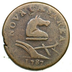 1787 38-c R-3 New Jersey Colonial Copper Coin