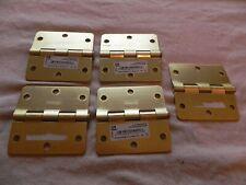 Everbilt 3 in 3 Bright Brass Square Corner Security Door Hinge Pack