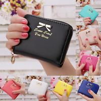 UK Women PU Leather Bowknot Small Clutch Purse Zipper Wallet Card Holder Bag New
