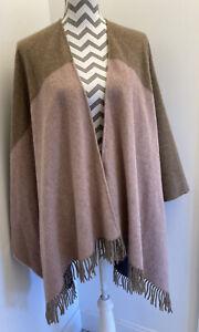 Boden Shawl British Made Tweed By Moon 100% Lambs Wool Pink, Grey, Sand - BNWT!