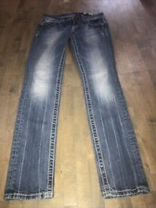 Miss Me Blue Denim  Bling Pockets  Stretch Skinny Jeans Size 28