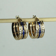 14K solid yellow gold Hoop tri-color Sapphire & white Topaz earrings