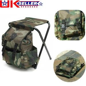 Oxford Fishing Tackle Backpack Bag Foldable Stool Seat Camping Hiking Chair 2in1