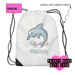 Personalised dolphin school bag , PE bag , football , ballet , DB
