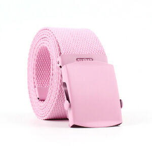 Men Women Student Classic Smooth Buckle Belts Casual Canvas Braided Woven Belt