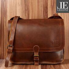LECONI Collegetasche Aktentasche vintage Leder Messenger Bag mittelbraun LE3020