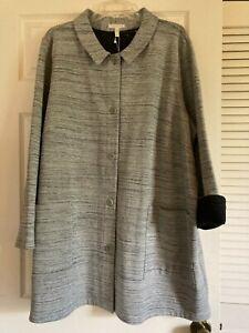 NWT Eileen Fisher Gray Cotton Chevron Knit Coat Jkt~Pockets~57 bust~Plus size 3X