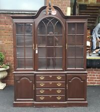 Solid Cherry Harden Furniture Queen Anne Style Dining Room China Cabinet 1980s