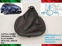 CUFFIA CAMBIO ALFA ROMEO MITO dal 2008 ORIGINALE IN PELLE CON AGGANCI GEAR BOOT
