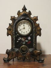 Antique Cast Iron Clock w Mother of Pearl & Golden Decoration Works Perfectly