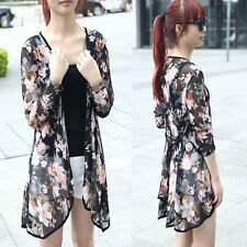 Summer Blouse Women Floral Printed Long Sleeve Shirt Casual Slim Chiffon Blouse
