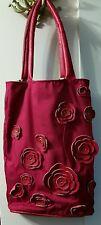 Eight 8 Season bright fushia burgundy & red leather nylon long flower Handbag
