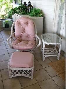 RATTAN SWIVEL ROCKER WITH MATCHING OTTOMAN AND TABLE