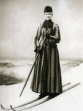 Vintage Wood Skis Woman Skiing Antique Skis Pole Wool Coat Lady On Wooden Skis