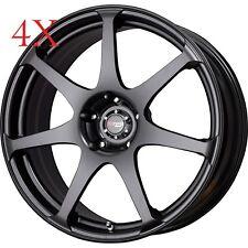 Drag Wheels DR-48 17X9 4/114.3 +17 offset Flat Black Full Rims for accord datsun