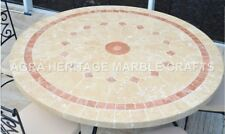 """36"""" Handmade White Marble Dining Living Room Table Top Inlay Home Decor H4710A"""
