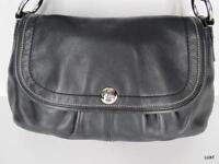 Coach Handbag Purse Shoulder Bag Size M Black Leather Snap Flap Strap Envelope