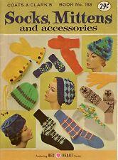 Coats Clark 163 Socks Mittens Accessories Knitting Crochet Patterns Shawl 1965
