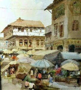 China Town Singapore original watercolour painting art Tong Chin Sye (1939)
