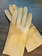 Vntg Brown Leather textured Gloves Steampunk Costume CosPlay Small wrist length