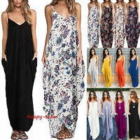 Womens Boho Long Maxi Dress Loose Plus Size Beach Holiday Casual Summer Ladies