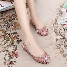 Women's Casual Shoes Jelly Hollow Out Flat Heel Sandals Flip Flops Size Beach