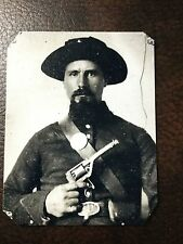 civil war Military Soldier With Handgun  tintype C110RP