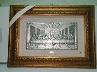 quadro ultima cena lastra argento pezzo cornice in vero legno foglia oro e vetro