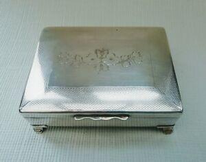Aristocrat HEPNSB Silver Plated Trinket or Cigarette Box Engraved Flower Design