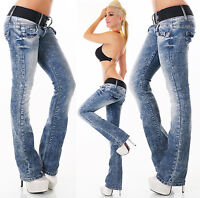 Women's Stretch Bootcut Distressed Denim Jeans + Belt - XS / S / M / L / XL