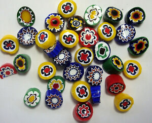 Vintage Millefiori Beads-New Old Stock 3 oz. approx 30 pcs. half inch, Murano