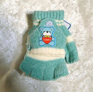 Childrens Toddlers Teddy Bear Mittens Gloves Baby Winter Cold Weather Boy/Girls