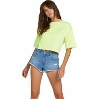 VOLCOM Womens Neon And On Short Sleeve Tee T-Shirt Top - Streetwear| Neon Yellow
