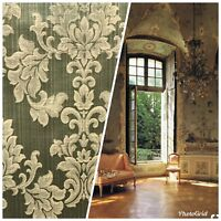 NEW Designer French Satin Brocade Fabric - Ivory And Green- Upholstery Damask