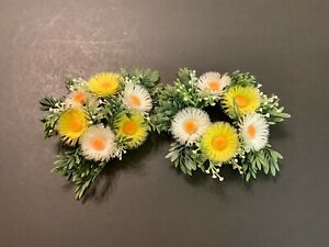 """2 small Vintage Candle Rings Plastic Flowers Floral  1-1/2"""" Opening  5"""" spread"""