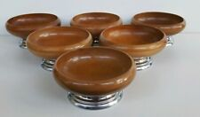 Vintage MCM Wood Bowls With Chrome Base