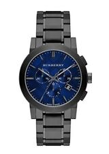 NEW BURBERRY THE CITY BU9365 MENS GREY, BLUE CHECK DIAL WATCH, 2 YEARS WARRANTY