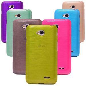 LG L40 Silikon Handyhülle Schutzhülle Case Cover Tasche Hülle Schutz Metallic
