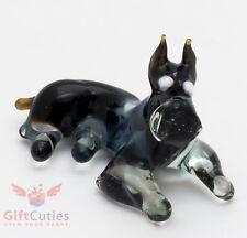 Art Blown Glass Figurine of the Miniature Schnauzer dog