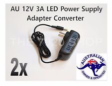 2x AU 2 Pin Plug to DC 12V 3A Power Supply Adapter Charger for LED Strips Light