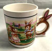 Vintage Peter Cottontail Rabbit Bunny Handle Easter Coffee Mug Ceramic