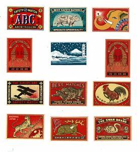 12 Old Japan c.1900s matchbox labels depicting Swan Brand, Three Tigers etc.