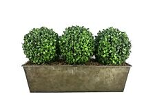 Artificial Triple Boxwood Topiary Balls - Rustic Tin Window Box Planter (54cm)