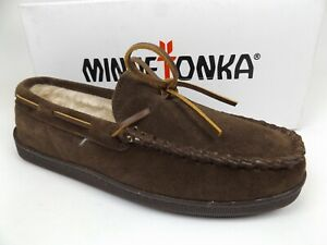 MINNETONKA 3908W Brown Suede Pile Lined Moccasin Hardsole Slippers Mens Size 8.0