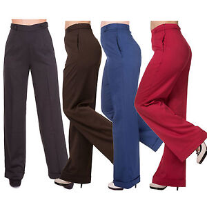 Wide Leg TROUSERS - 1940s 1950s retro vintage Style - Flared, high waist, Banned