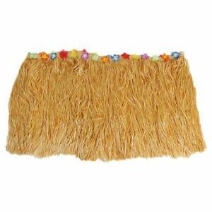 1X(Table Skirt Hawaiian Luau Flower Grass Garden Wedding Party Beach Decor